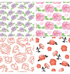 set rose pattern vector image