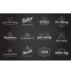 set tailoring tailor sew elements and sewing vector image