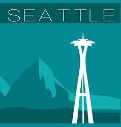 skyline seattle flat style panorama vector image