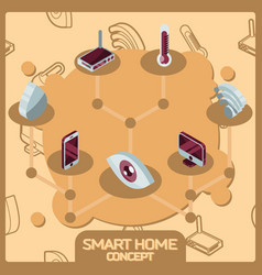 smart home color concept isometric icons vector image
