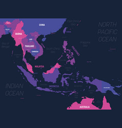 Southeast asia map high detailed political map vector