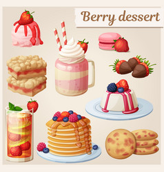 strawberry dessert collection cartoon style vector image