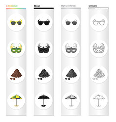 Sunglasses carnival mask famous brazilian coffee vector
