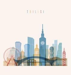 tbilisi skyline detailed silhouette vector image