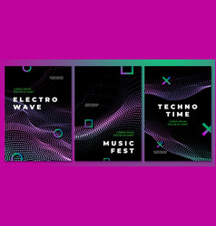 techno music party posters club flyer electronic vector image