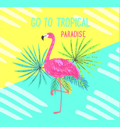 tropical postcard summer background with flamingo vector image