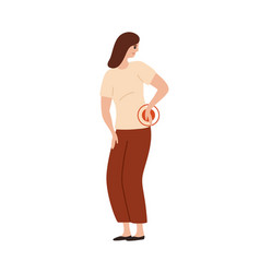 Unhappy woman touching lower back feeling pain vector