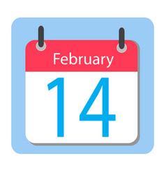Valentines day flat calendar icon february 14 vector