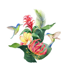 Watercolor card tropical leaves vector