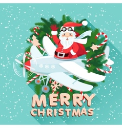 Waving Santa Claus on the plane iside the vector image