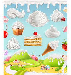 Whipped cream milk cream ice cream cake cupcake vector