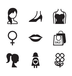 woman symbol icon set vector image