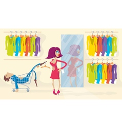 Woman Trying On Red Dress vector image