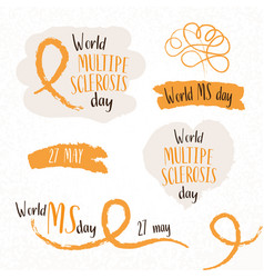 world ms day hand draw sketch concept sticker set vector image