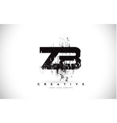 Zb z b grunge brush letter logo design in black vector