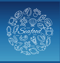 seafood line banner with fish shrimp oyster vector image