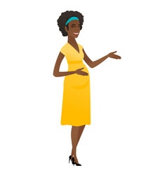 young african-american pregnant woman gesturing vector image