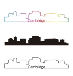 Cambridge skyline linear style with rainbow vector image