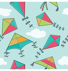 colorful kites seamless pattern vector image