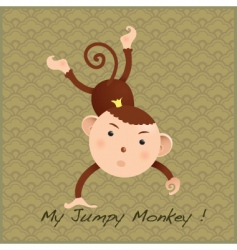 monkey on decorative card vector image vector image