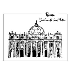rome cityscape with st peter cathedral italian vector image vector image