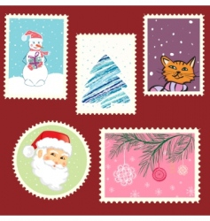 winter postage set vector image vector image