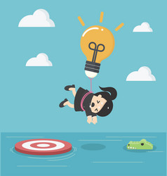 business woman with a light bulb parachute is vector image