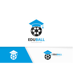 graduate hat and soccer logo combination vector image