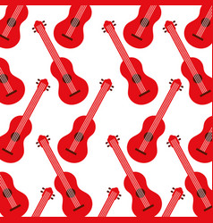 red guitar instrument music acoustic seamless vector image vector image