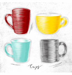 set cups vector image vector image