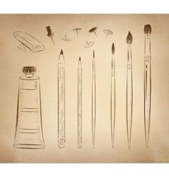 Artistic hand drawn set vector image