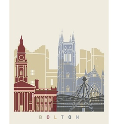 Bolton skyline poster vector image vector image