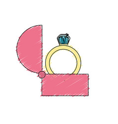 Engagement ring and romantic relationship vector