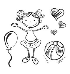 hand drawn girl with toys vector image vector image
