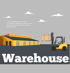 warehouse banner with forklift truck vector image