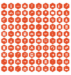 100 fish icons hexagon orange vector