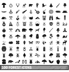 100 forest icons set in simple style vector image