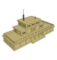 3d on white background a military barracks vector