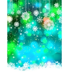 abstract green blue winter with snowflakes eps 8 vector image