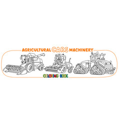 Agricultural machinery coloring book set vector
