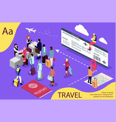 airport isometric travel concept with reception vector image