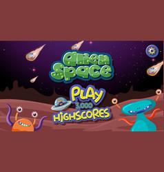 Alien space game background vector