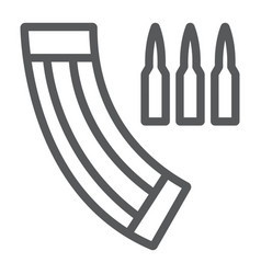 ammunition magazine line icon army and military vector image