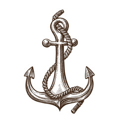 Anchor with rope sketch sailing cruise concept vector