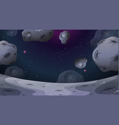 Asteroid moon landscape scene vector