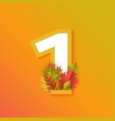 Autumn one 1 number with forest leaves vector