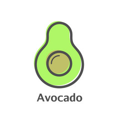 Avocado thin line icon isolated avocado fruit vector