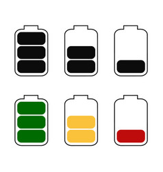 Battery icon full medium and low charge isolated vector