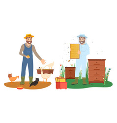 beekeeper and farmer character agriculture vector image