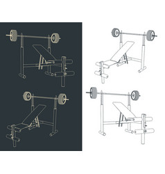 bench press with barbell sketches vector image